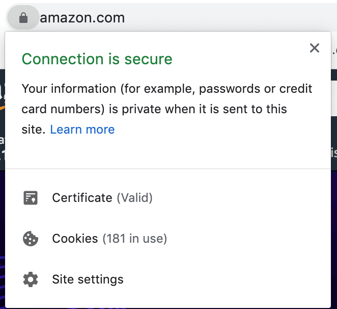Secure site using an SSL certificate